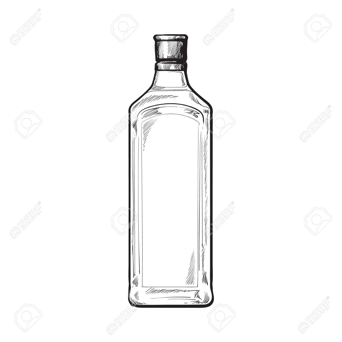 Traditional blue gin glass bottle, sketch style vector illustration...