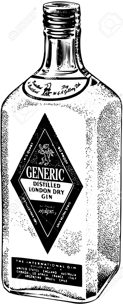 Bottle Of Distilled Gin Royalty Free Cliparts, Vectors, And Stock.