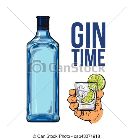 Vector Clip Art of Blue gin bottle, hand holding glass with ice.