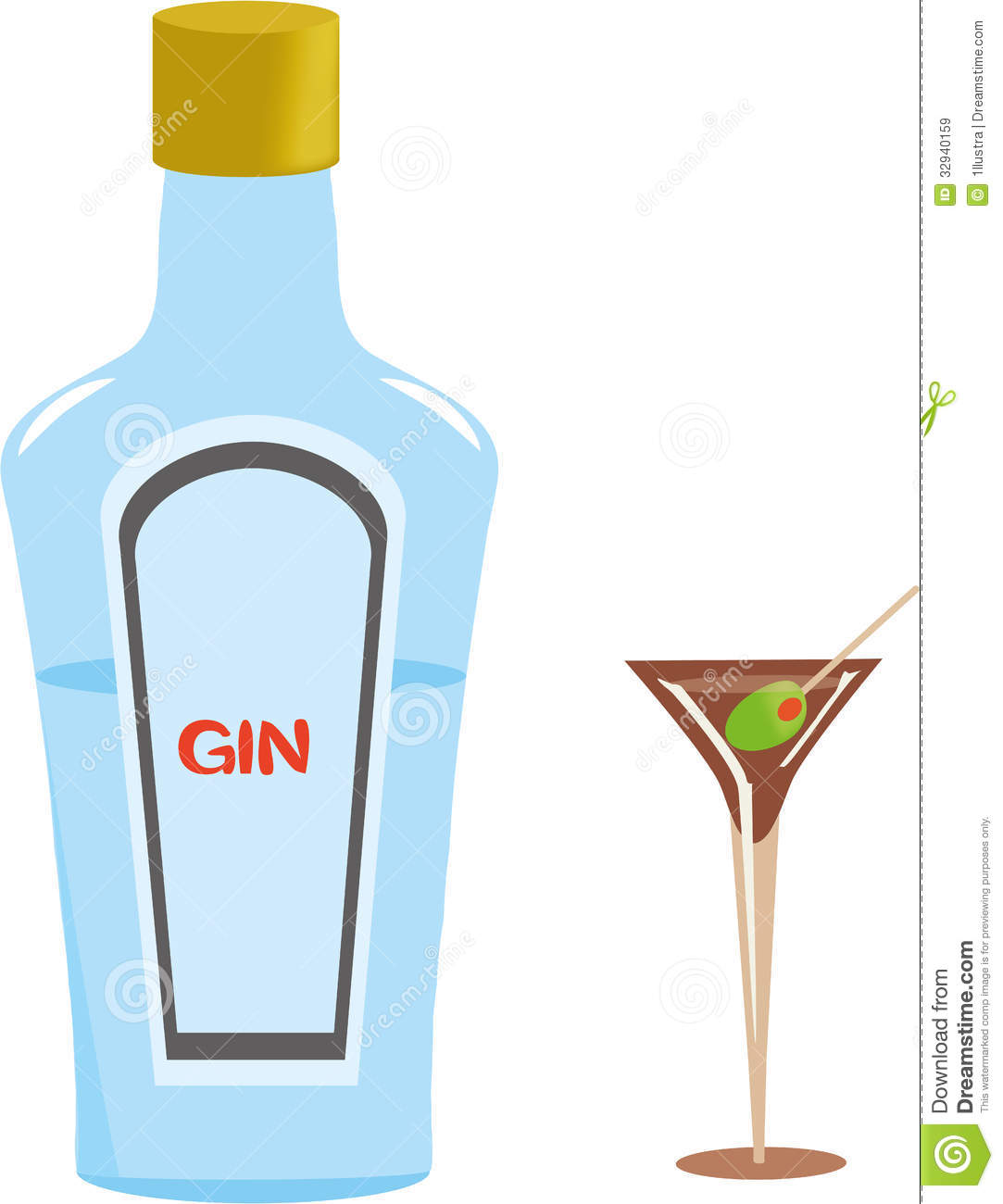 Gin Bottle And Martini Glass Royalty Free Stock Images.