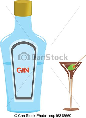 Clip Art Vector of Gin Bottle and Martini Glass.