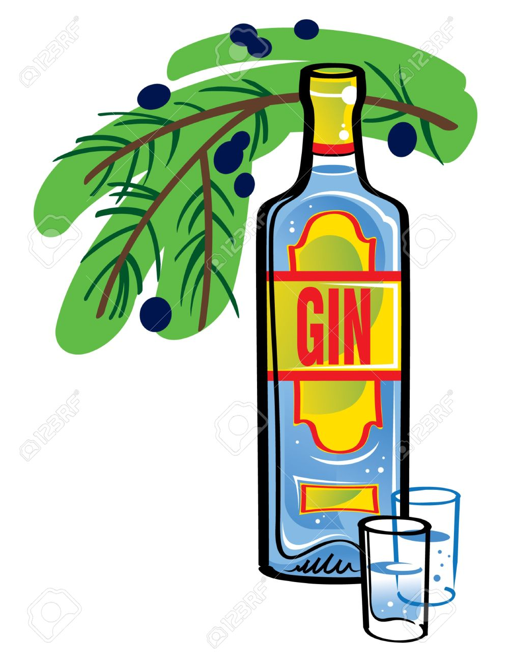 Bottle Of Gin With Juniper Branch Royalty Free Cliparts, Vectors.