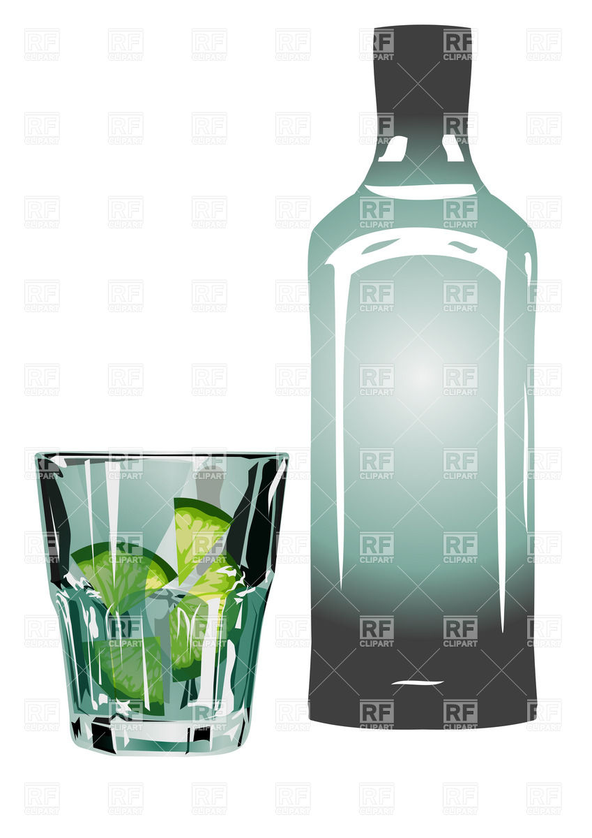 Gin and tonic in glass with lime Vector Image #38060.