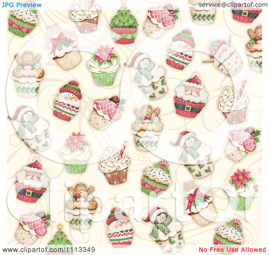 Clipart Christmas Cupcake Background.