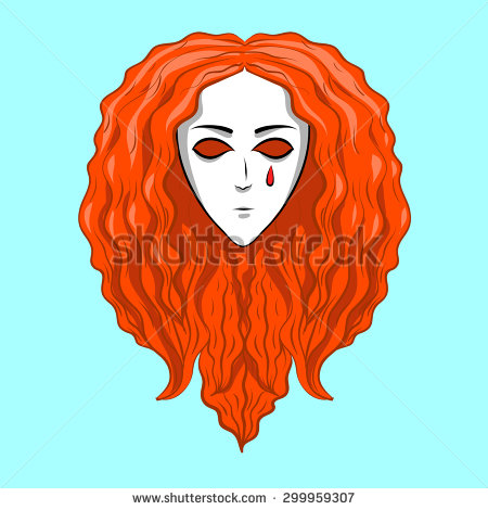Ginger Girl Rolled In Ball Crying Clipart.