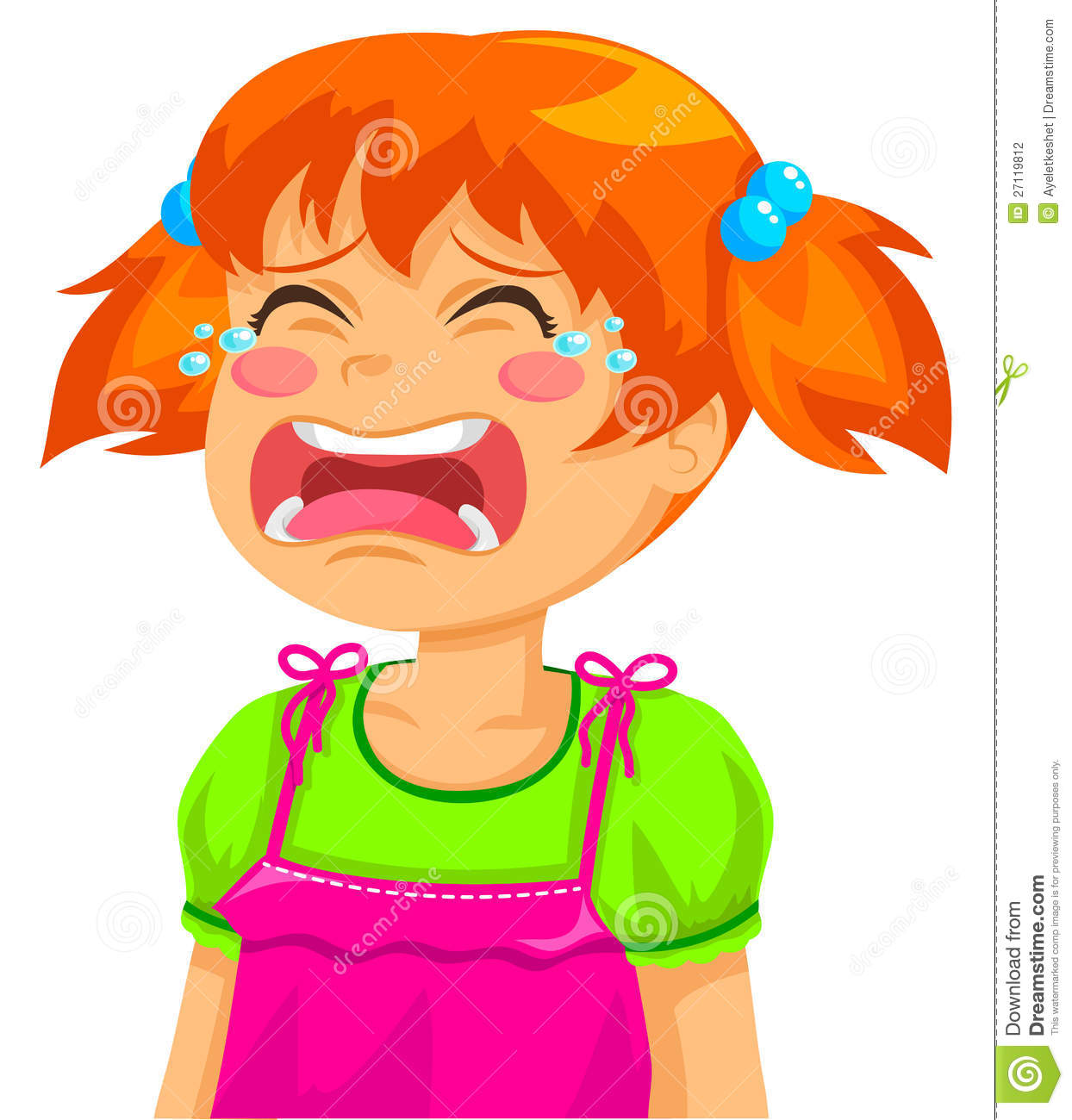 Ginger Girl Abandonded Crying Clipart.