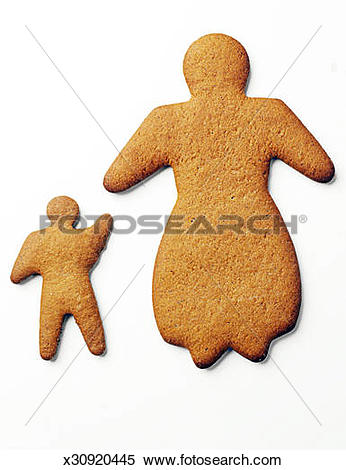 Stock Image of Ginger bread biscuits shaped like mother and child.