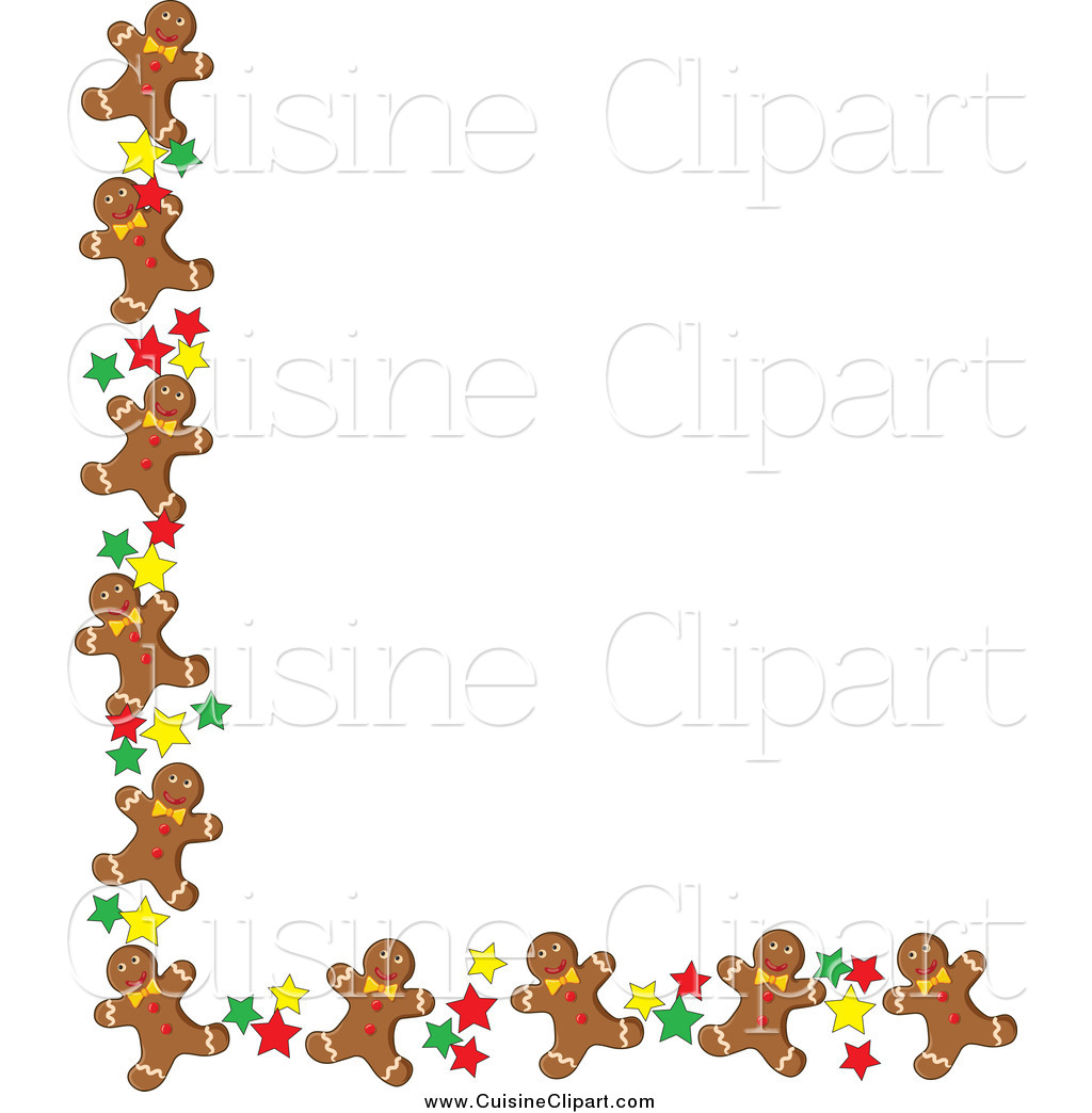 Cuisine Clipart of a Corner Border of Gingerbread Men Cookies and.