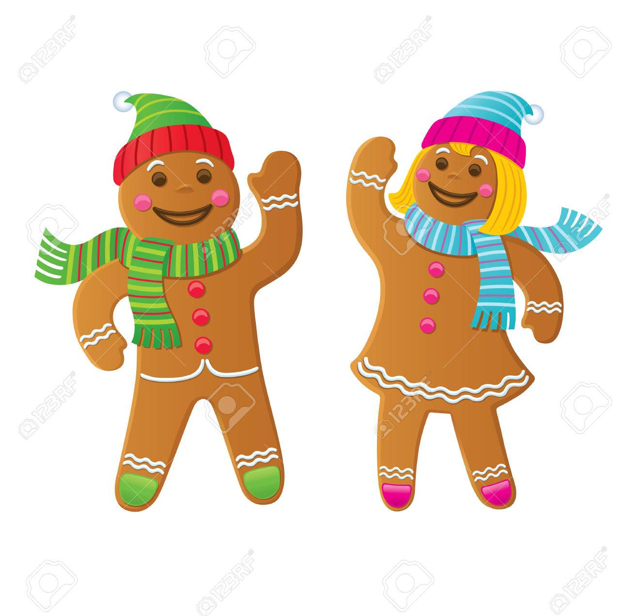 Gingerbread Boy and Girl Waving.