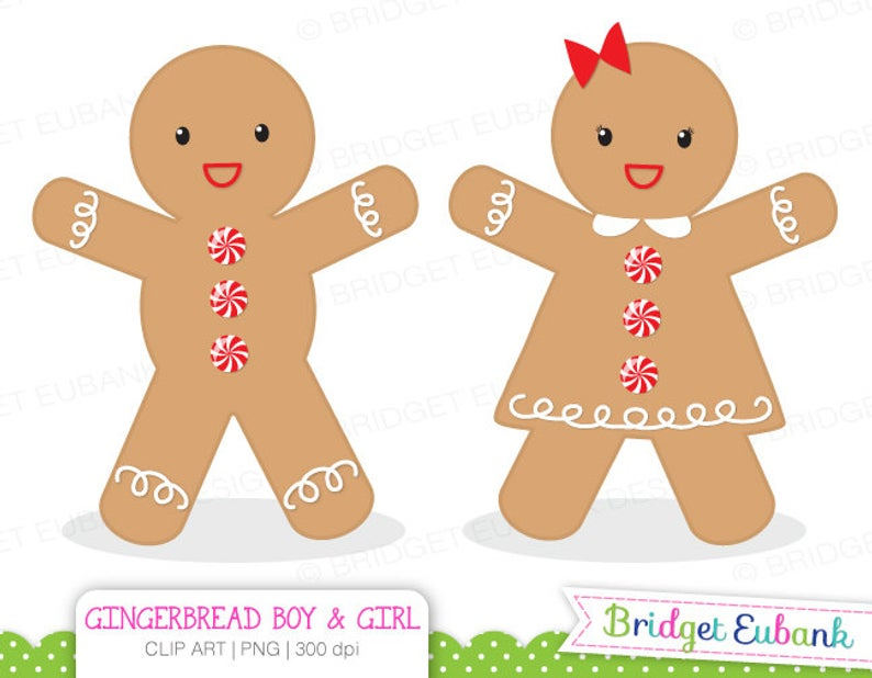 Gingerbread Boy Clipart, Christmas Clipart, Gingerbread Boy and Girl  clipart, PNG Images, Instant Download.