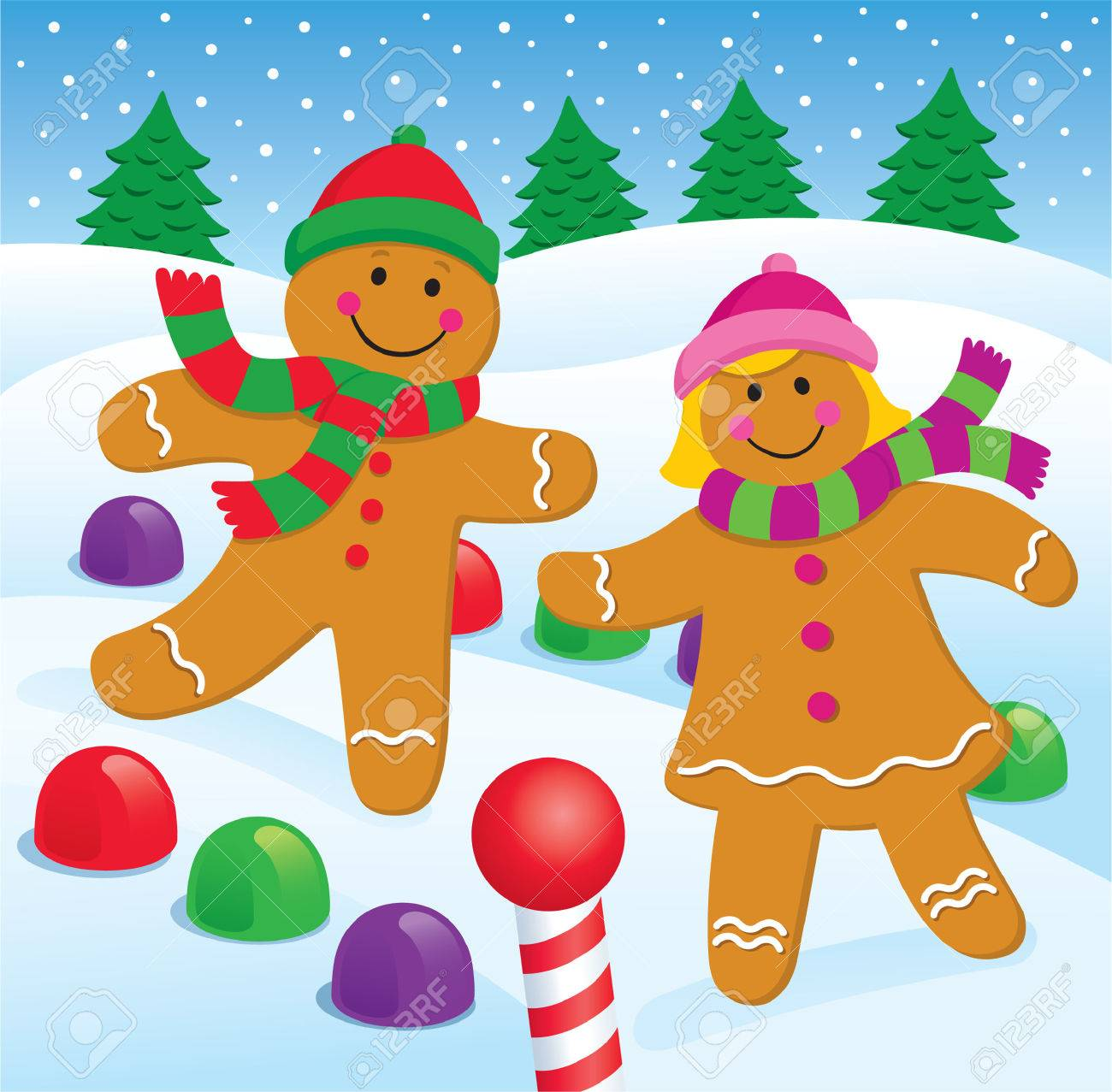 Gingerbread Boy and Girl in the Snow.