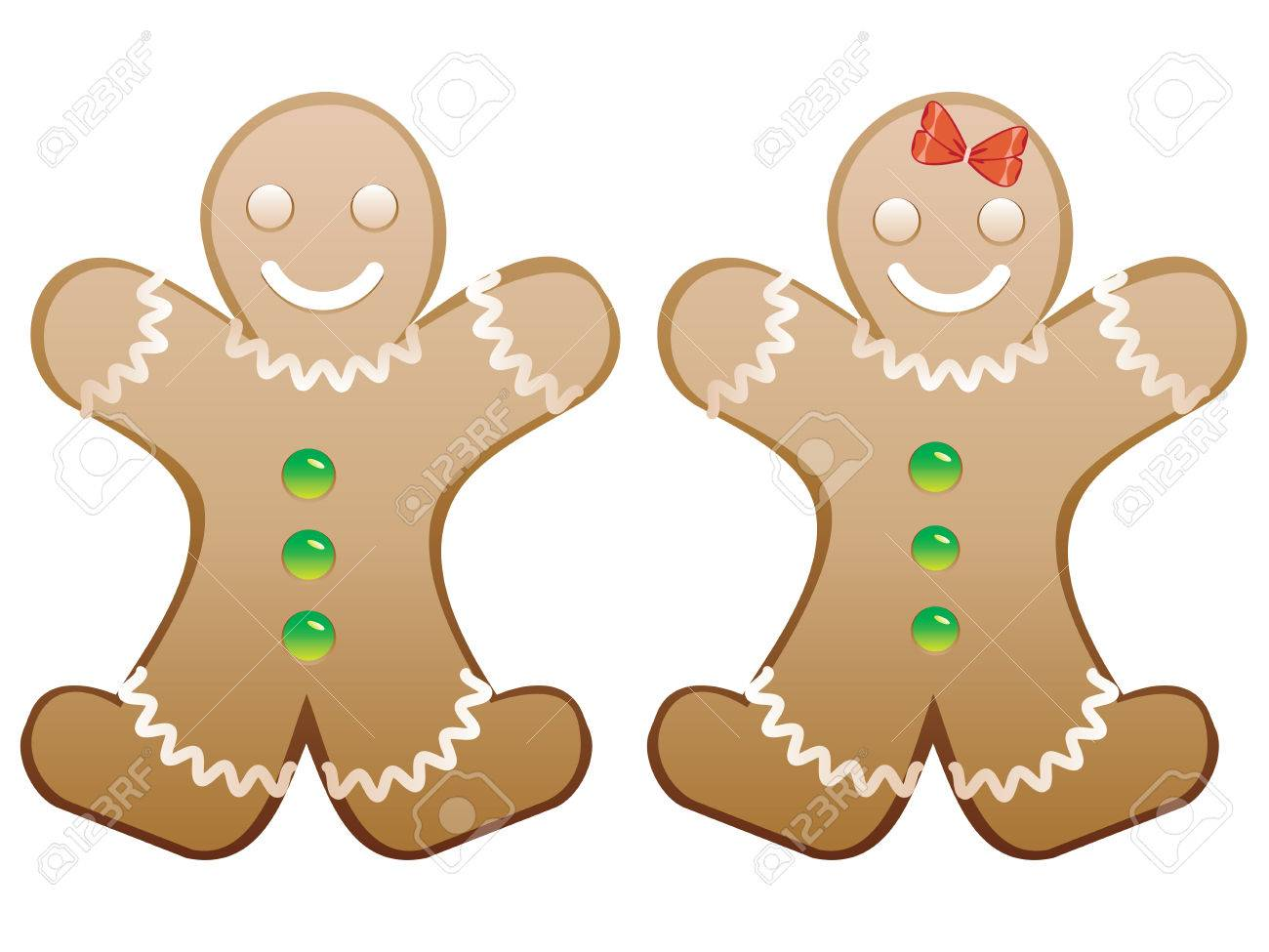 Christmas cookie happy gingerbread boy and girl..