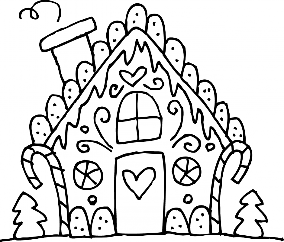 Gingerbread house clipart black and white clipartxtras.