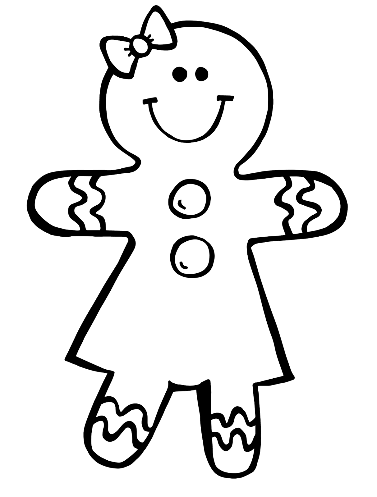 Gingerbread man black and white clipart 2.