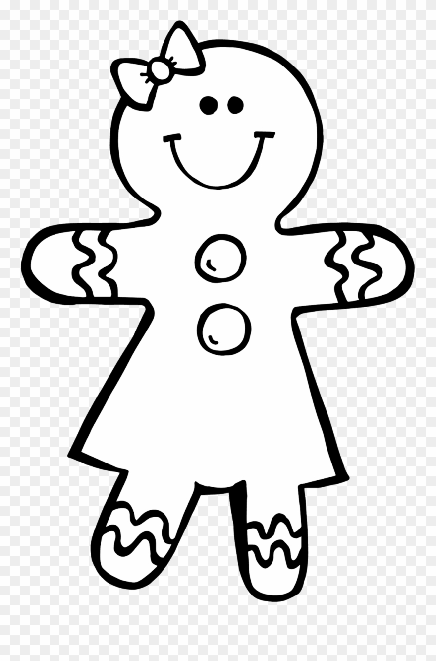 Gingerbread Man Black And White Clipart Kid.