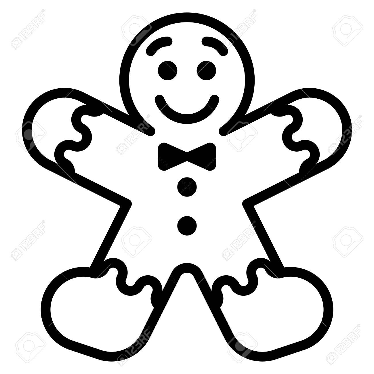 Vector cartoon gingerbread Man isolated on white background.