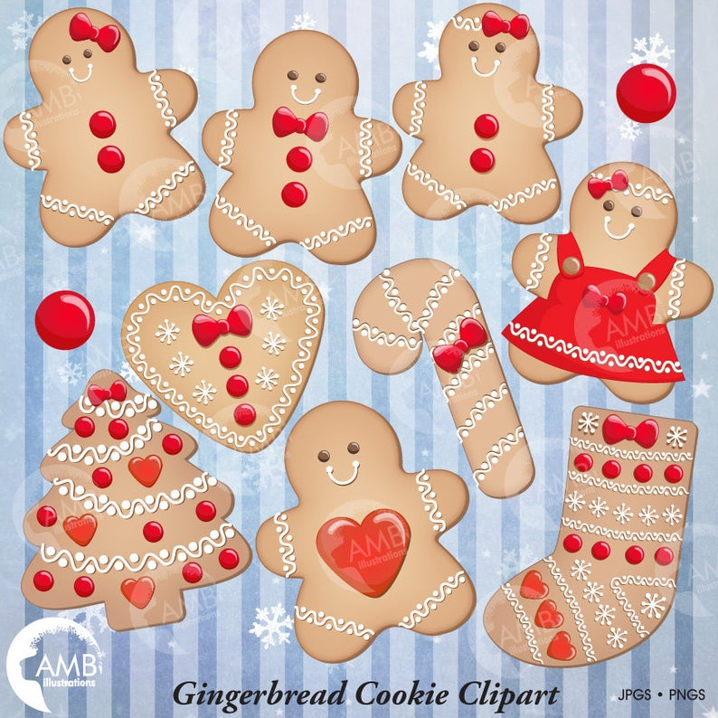 Christmas Cookie Clipart, Gingerbread Cookie Clip Art, Gingerbread men,  Cookie clipart, Commercial Use, Instant Download, AMB.