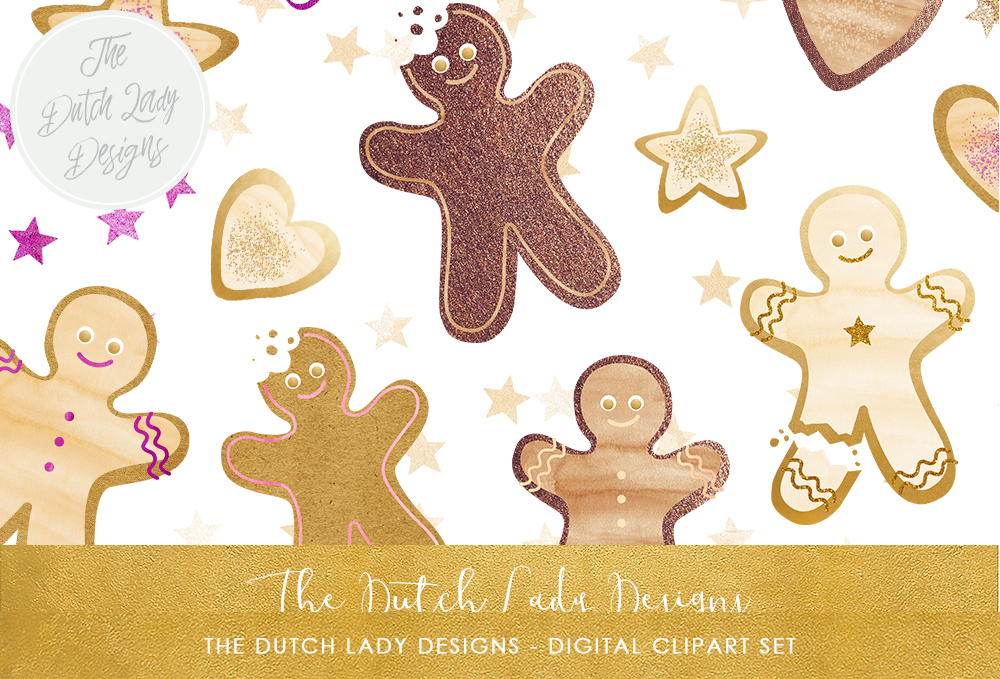 Christmas Gingerbread Cookie Clipart Set.