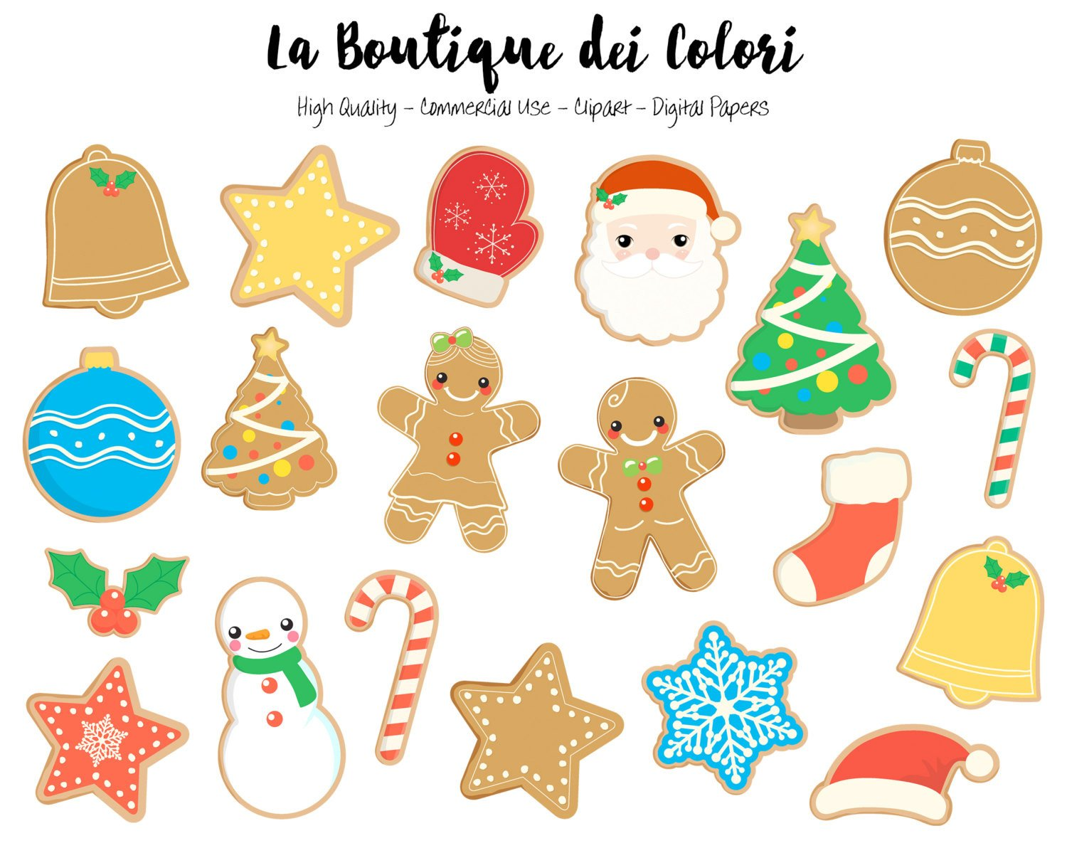 Christmas Gingerbread Cookies Clipart.