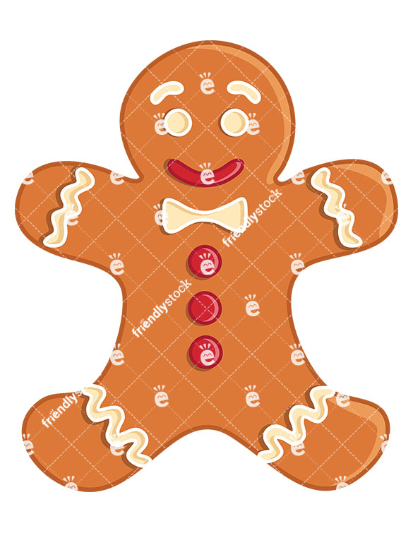 Smiling Gingerbread Man Cookie Isolated.