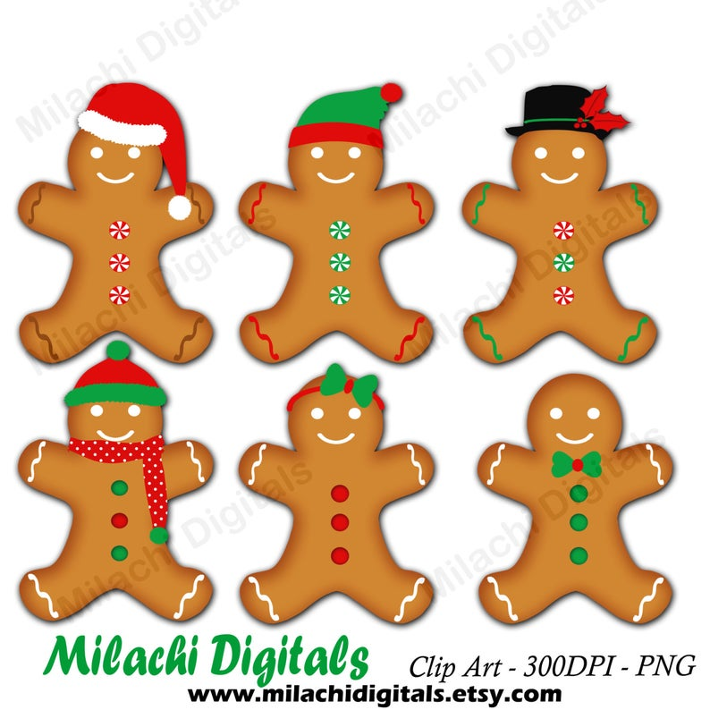 Gingerbread man clipart, holiday clipart, gingerbread cookies clipart,  digital clip art, commercial use.