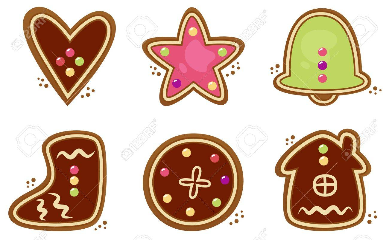 Gingerbread cookies in various shapes. Vector collection.