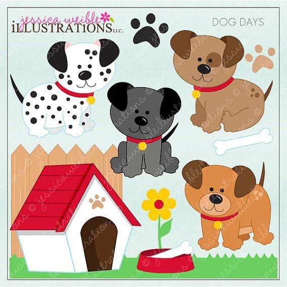 Dog Days Cute Digital Clipart for Invitations, Card Design.