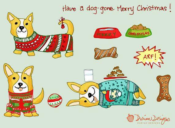 Christmas Corgi clip art commercial use, gingerbread dog.