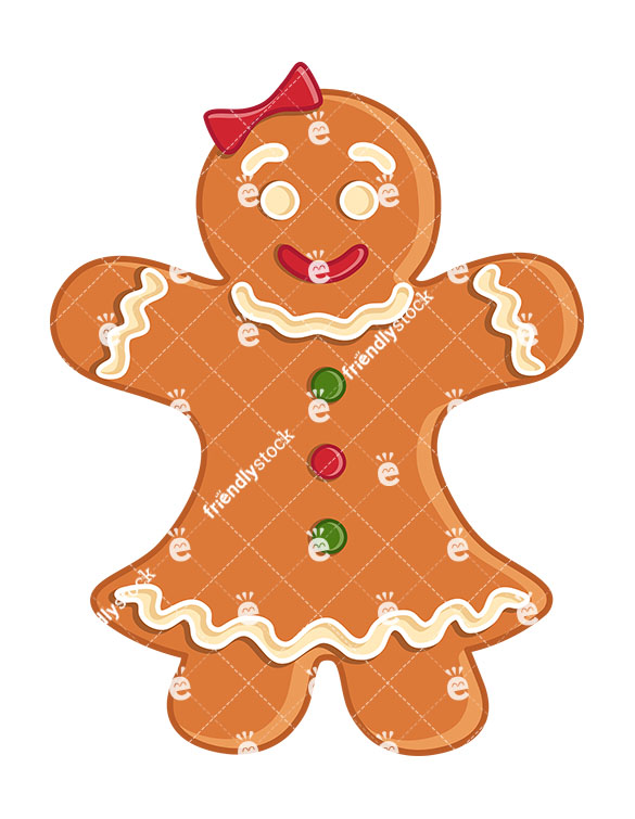 Gingerbread Woman Cookie Isolated.