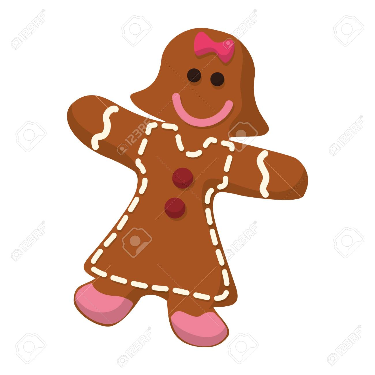 gingerbread girl cookie vector icon illustration graphic design.
