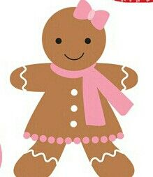 CHRISTMAS GINGERBREAD GIRL CLIP ART.