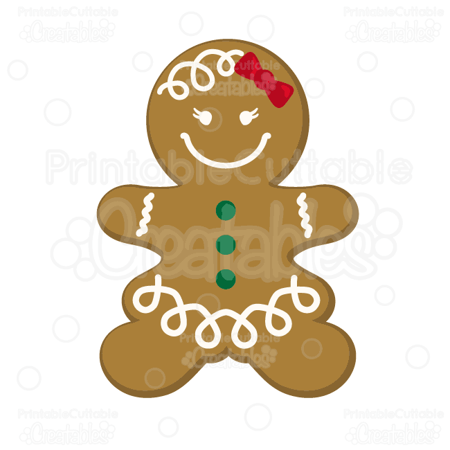 Gingerbread Girl Cookie SVG Cutting File & Clipart.