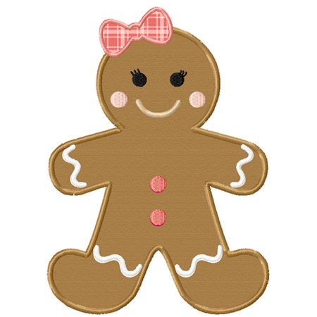 Christmas Gingerbread Girl Applique Machine Embroidery Design.