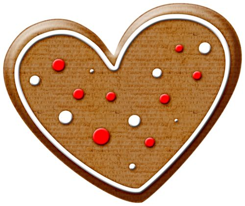 CHRISTMAS GINGERBREAD HEART COOKIE CLIP ART.