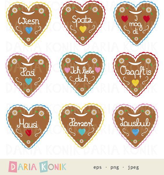 Gingerbread Heart Clipart Set, Oktoberfest clipart by dariakonik.