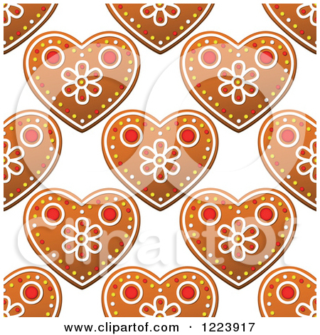 Clipart of a Seamless Pattern Background of Christmas Gingerbread.