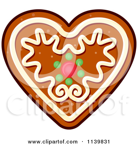 Clipart Of A Heart Gingerbread Christmas Cookie.