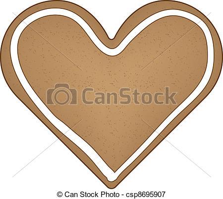 Vectors Illustration of vector gingerbread heart csp8695907.