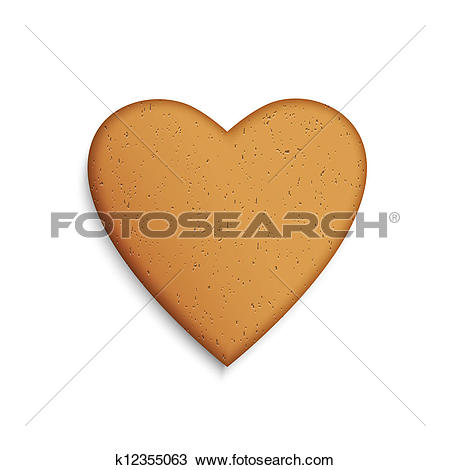 Clipart of Gingerbread cookie in the shape of a heart k12355063.