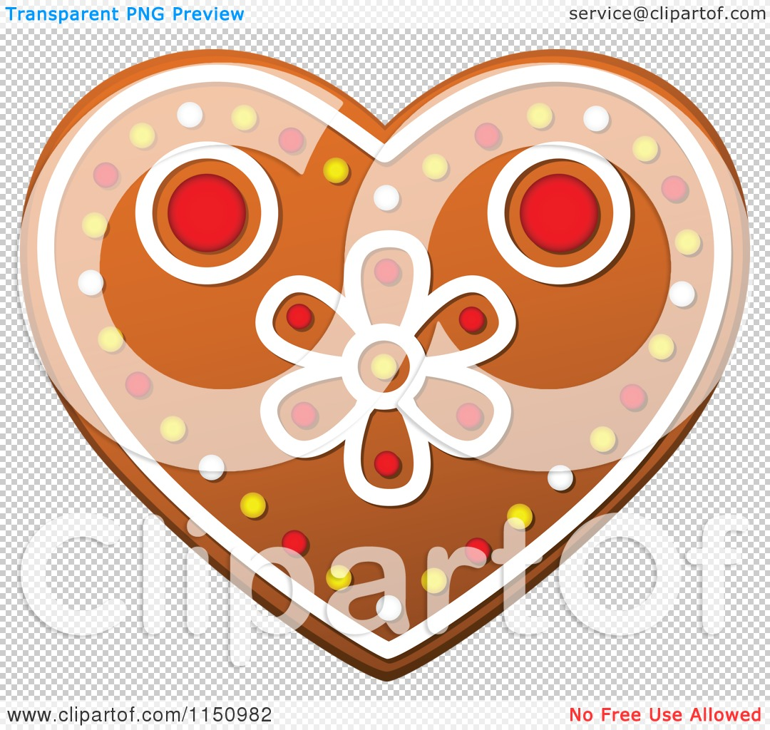 Clipart of a Christmas Heart Gingerbread Cookie.