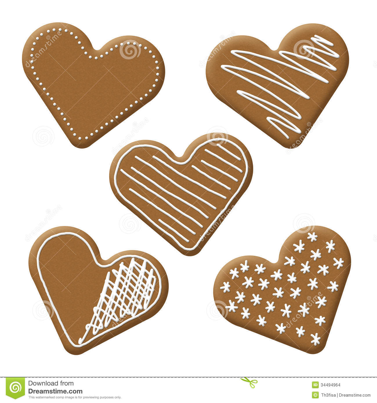 Christmas Heart Gingerbread Stock Images.