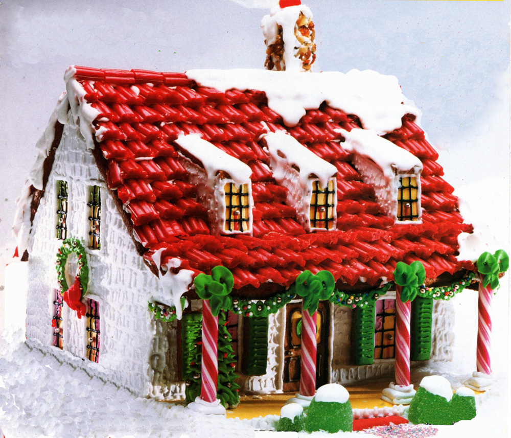 Gingerbread House 4 Windows Clipart.