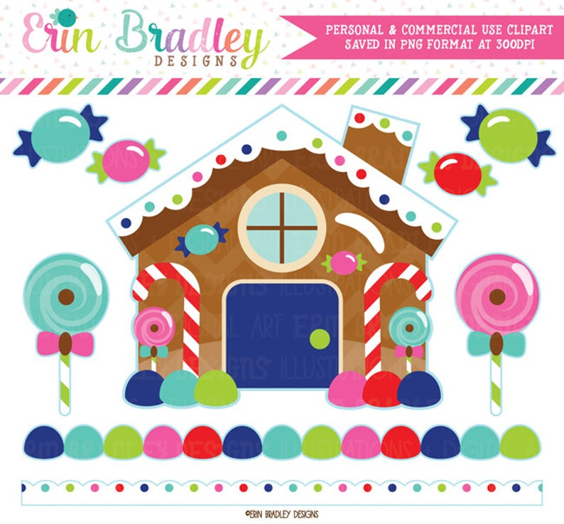 Gingerbread House Clipart Christmas Holiday Digital Clip Art Graphics Candy  Borders and Lollipops Instant Download.