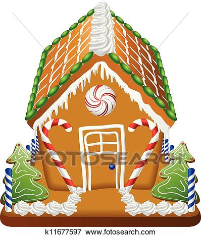 Gingerbread house with candies Clip Art.
