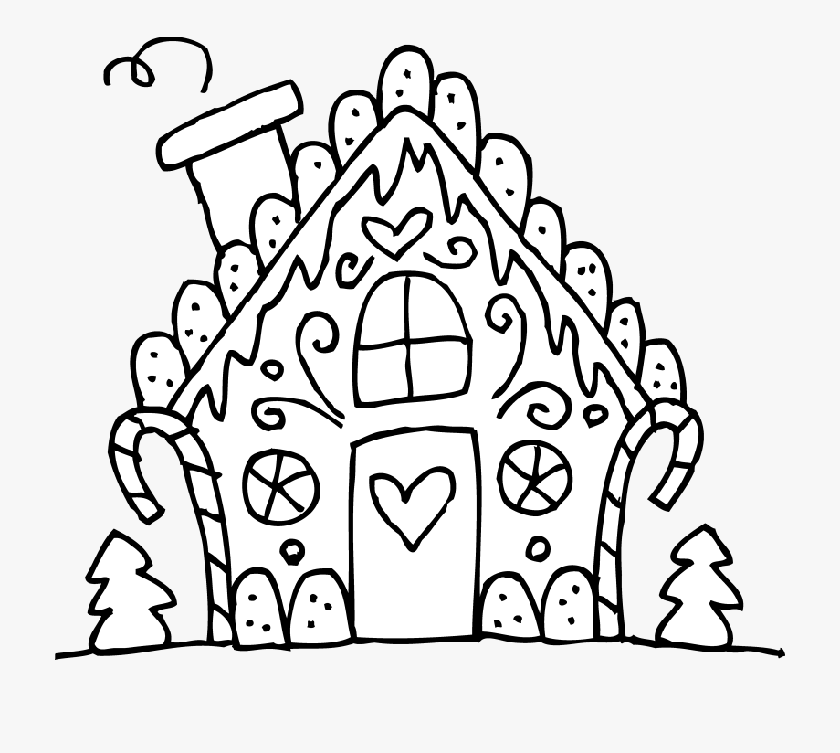 Gingerbread House Clipart Black And White.