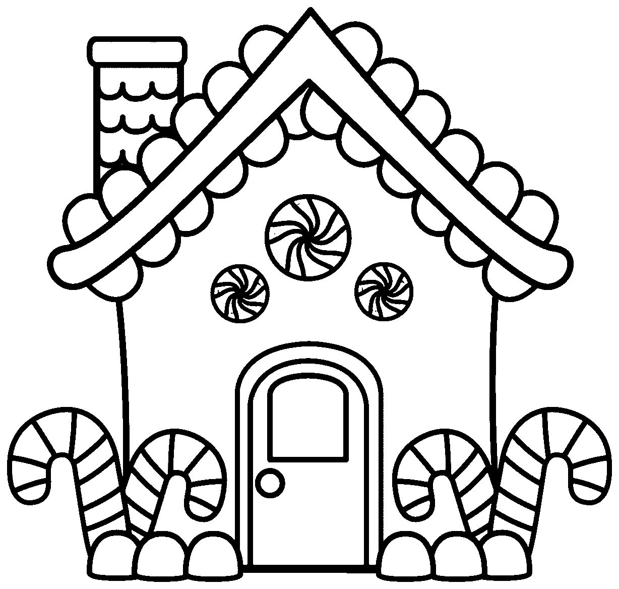 Gingerbread House Coloring Pages.