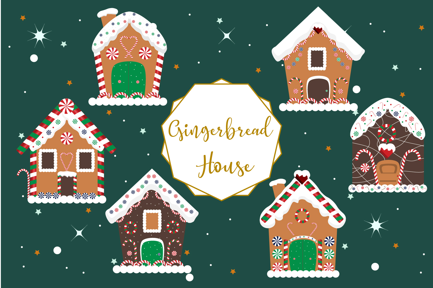 Christmas gingerbread house clipart.