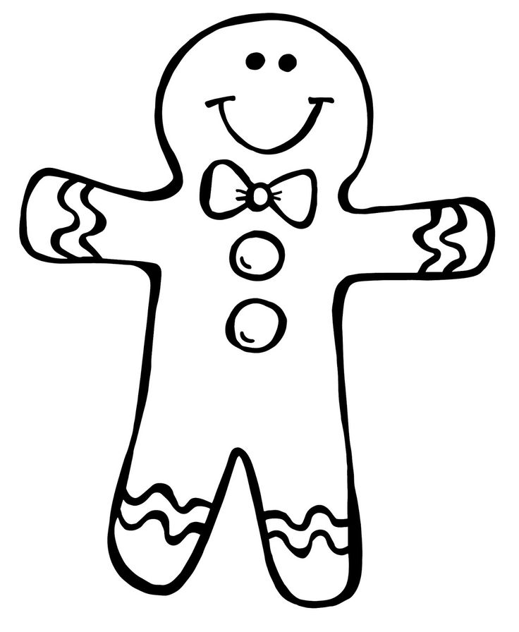 Gingerbread Man Black And White Clipart