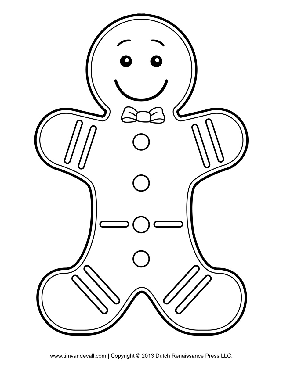 Gingerbread man black and white clipart kid 3.