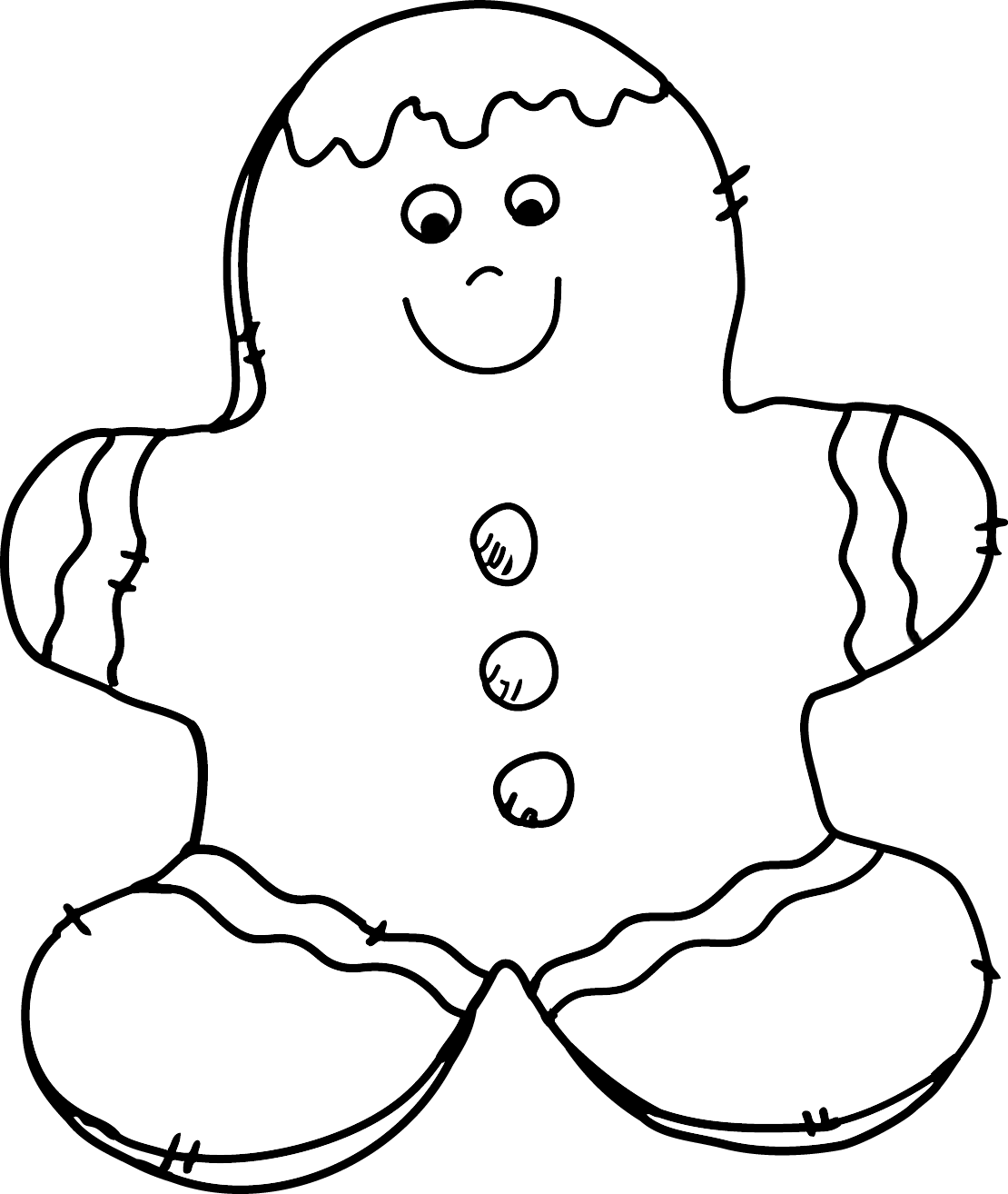 Gingerbread Man Tree Clipart Black And White.